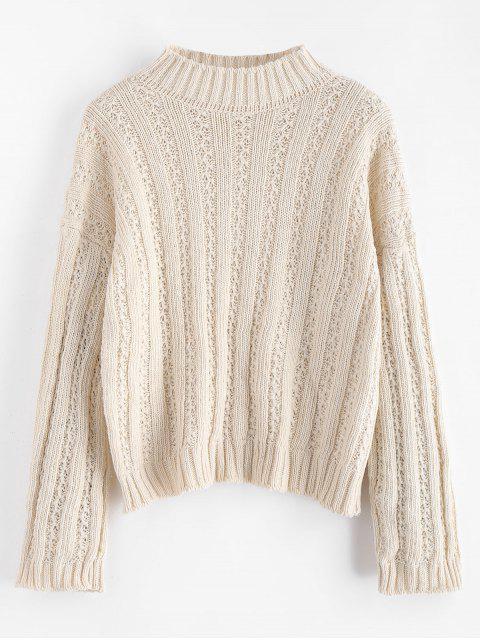 Schulterfreier, gerippter, kastenförmiger Pullover - Warmweiß Eine Größe Mobile