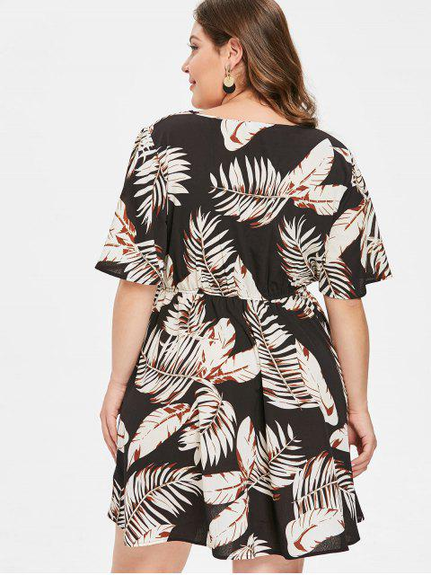 womens ZAFUL Plus Size Leaf Print Casual Dress - MULTI 2X Mobile