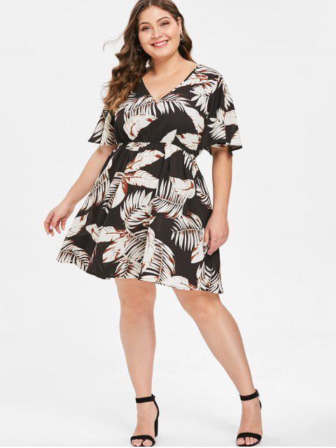 ladies ZAFUL Plus Size Leaf Print Casual Dress - MULTI 3X Mobile