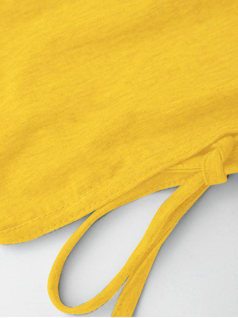 women Open Back Cropped Tank Top - BRIGHT YELLOW S Mobile