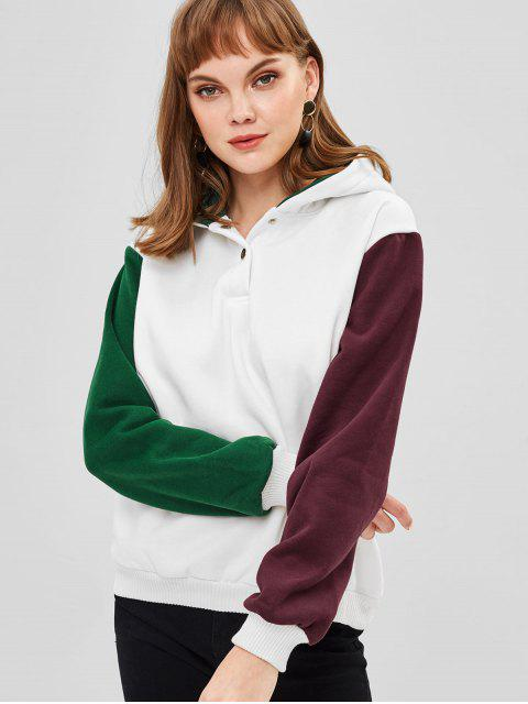 best Fleece Color Block Pullover Hoodie - WHITE ONE SIZE Mobile