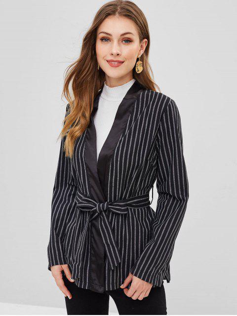 online Satin Panel Striped Wrap Blazer - BLACK S Mobile