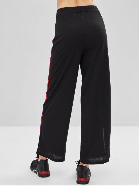 unique Stripe Patch Side Slit Drawstring Pants - BLACK XL Mobile