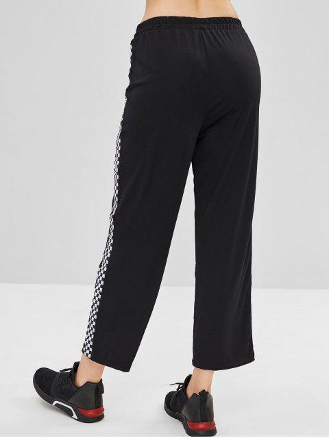 Pantalones a cuadros laterales - Negro M Mobile