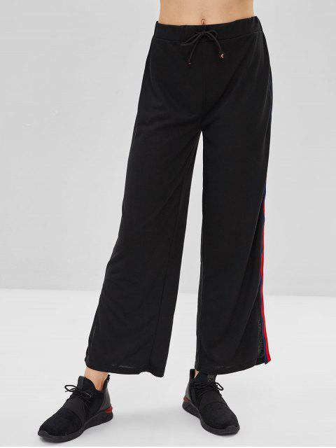 hot Stripe Patch Side Slit Drawstring Pants - BLACK S Mobile