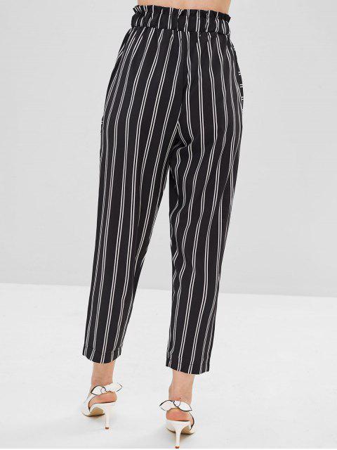 outfits Drawstring Stripe Pants - BLACK L Mobile