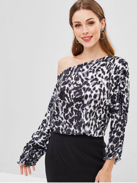 online One Shoulder Leopard Blouse - BLACK L Mobile