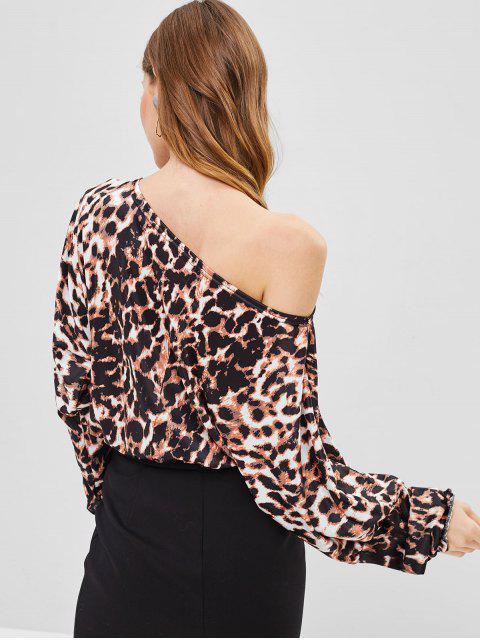 affordable One Shoulder Leopard Blouse - SANDY BROWN S Mobile