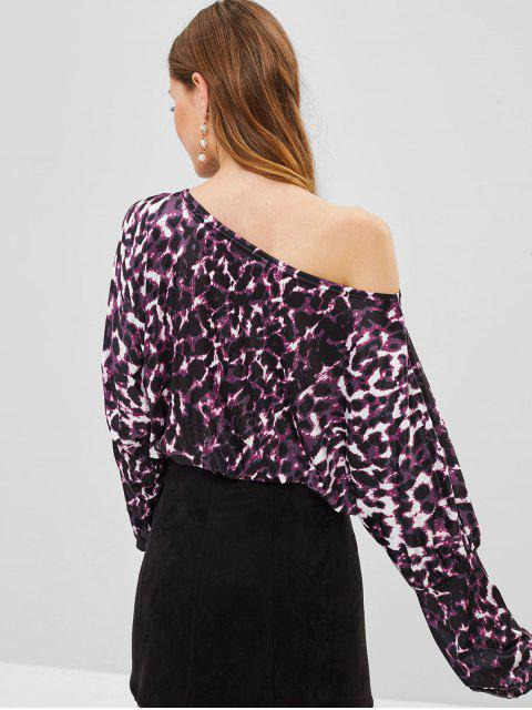 best One Shoulder Leopard Blouse - VIOLA PURPLE S Mobile