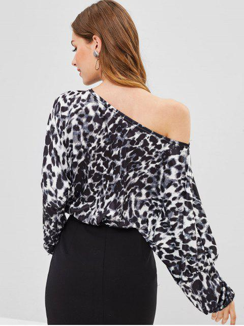 ladies One Shoulder Leopard Blouse - BLACK S Mobile