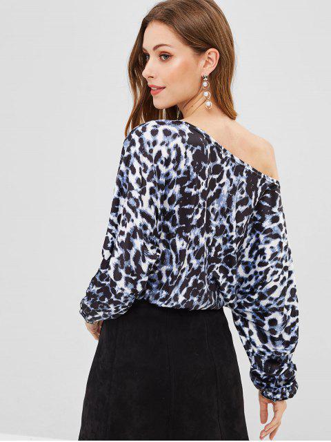 chic One Shoulder Leopard Blouse - SLATE BLUE S Mobile
