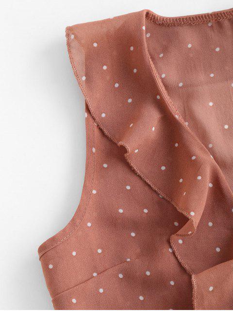 latest Ruffles Polka Dot Tie Crop Top - ORANGE PINK S Mobile