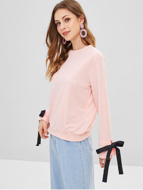 Sweat-shirt Noué Manches à Rebords - Cerisier Rose S Mobile