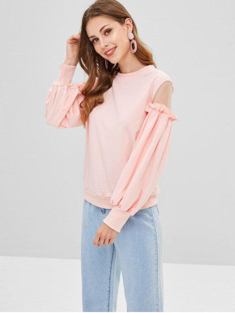 fancy Ruffles Mesh Panel Sweatshirt - SAKURA PINK S Mobile