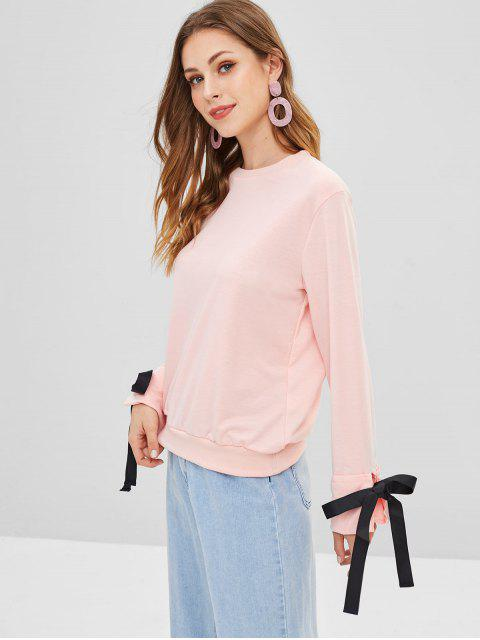 buy Knotted Cuffed Sleeves Sweatshirt - SAKURA PINK L Mobile