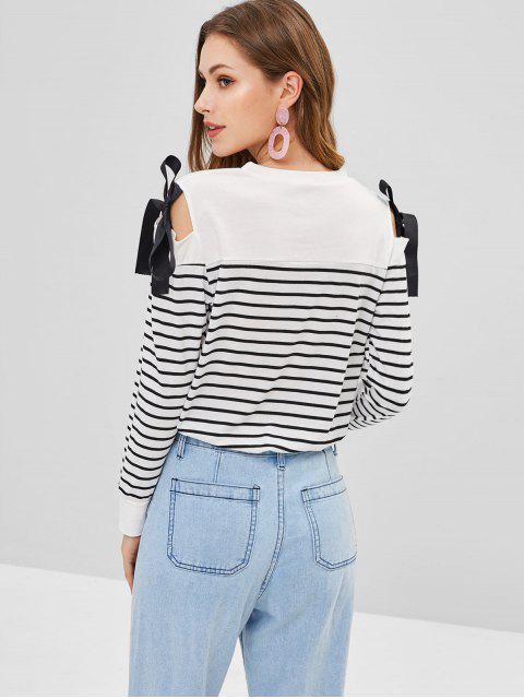 latest Cold Shoulder Knotted Striped Tee - WHITE S Mobile