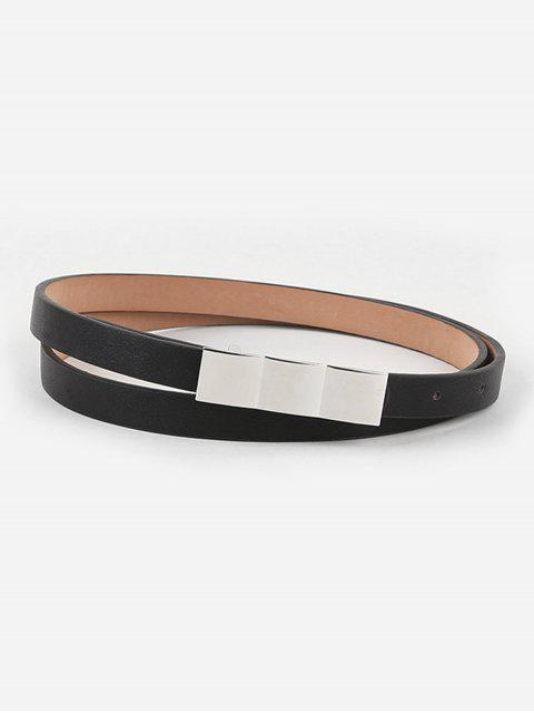 affordable Casual Faux Leather Skinny Dress Belt - BLACK  Mobile