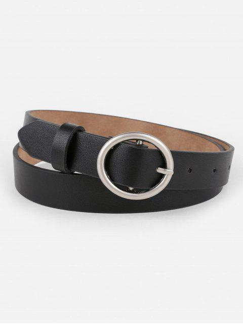 shop Vintage Metal Rounded Buckle Faux Leather Belt - BLACK  Mobile