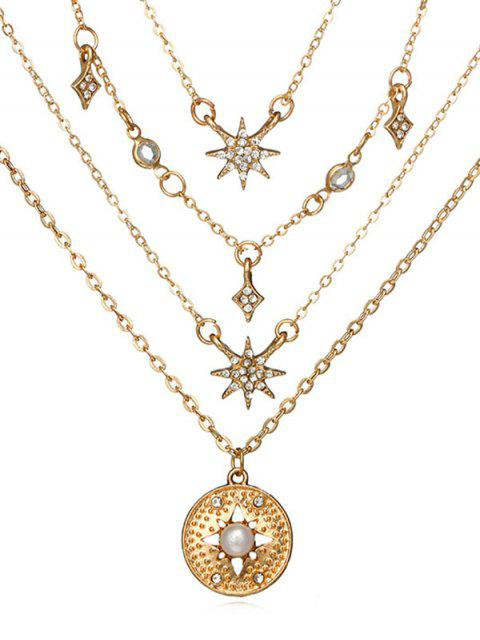 fancy Round Shape Rhinestone Star Decor Necklace - GOLD  Mobile