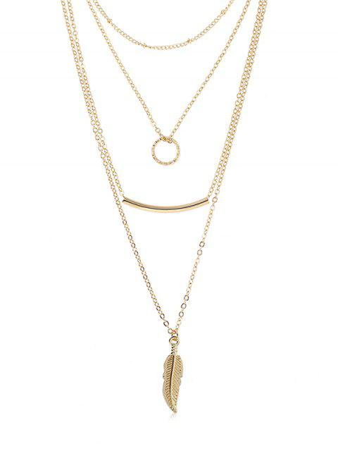 sale Layered Metal Hoop Shape Necklace - GOLD  Mobile