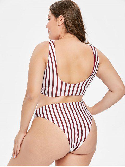 fancy ZAFUL Reversible Striped Bandeau Plus Size Bikini Set - MULTI-A 3X Mobile