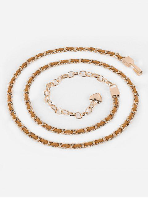 women's Stylish Infinity Metal Loops Chain Belt - BROWN  Mobile