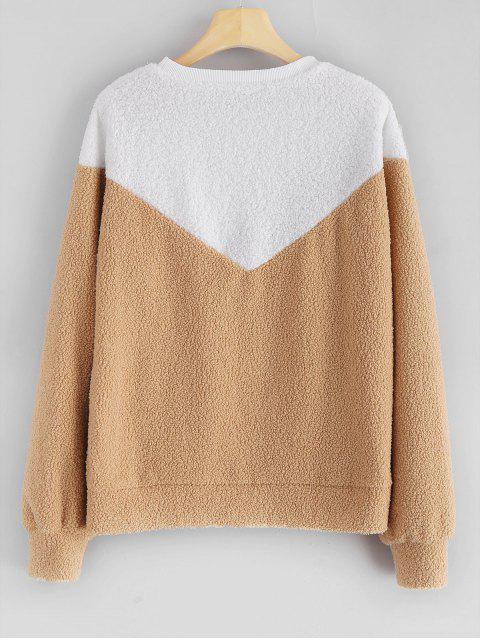 lady Color Block Teddy Sweatshirt - LIGHT BROWN S Mobile