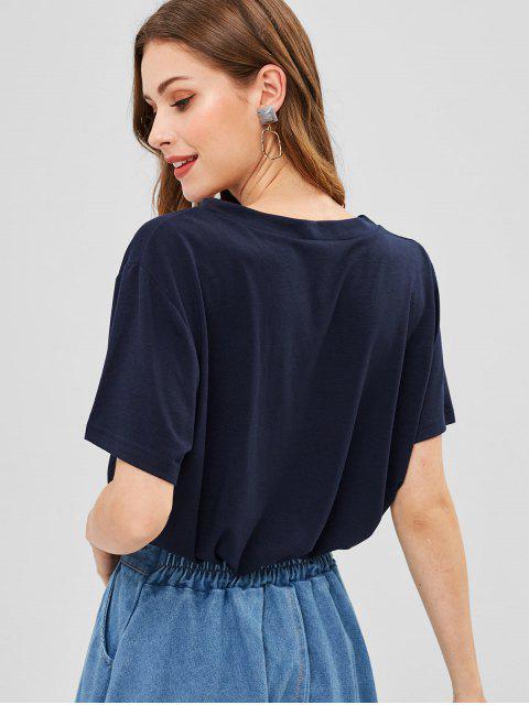 ブラジルナッツキャットグラフィックTシャツ - 紺 S Mobile