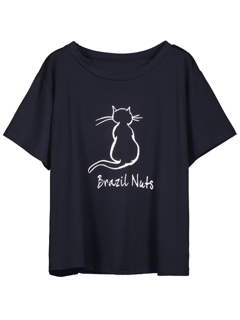 buy Brazil Nuts Cat Graphic T-shirt - NAVY BLUE S Mobile