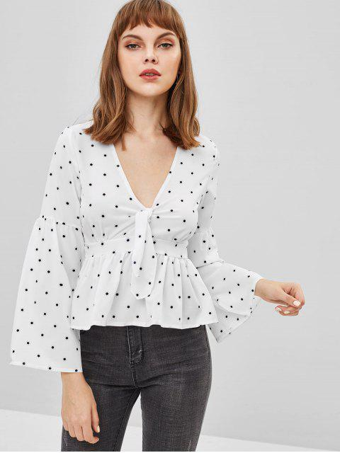 affordable Flare Sleeves Knotted Polka Dot Blouse - WHITE S Mobile