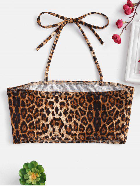 chic Embroidered Leopard Print Halter Crop Top - LEOPARD L Mobile