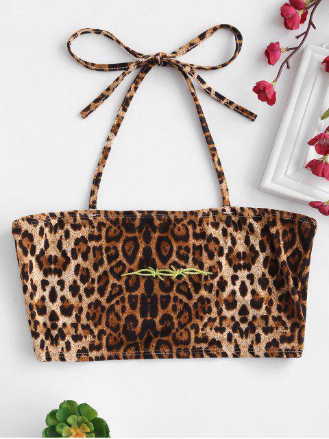 ladies Embroidered Leopard Print Halter Crop Top - LEOPARD S Mobile