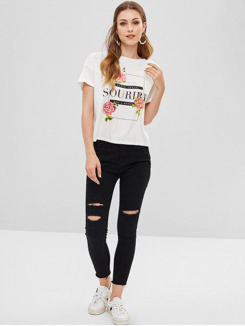 latest Cuffed Lace-up Graphic Tee - WHITE L Mobile