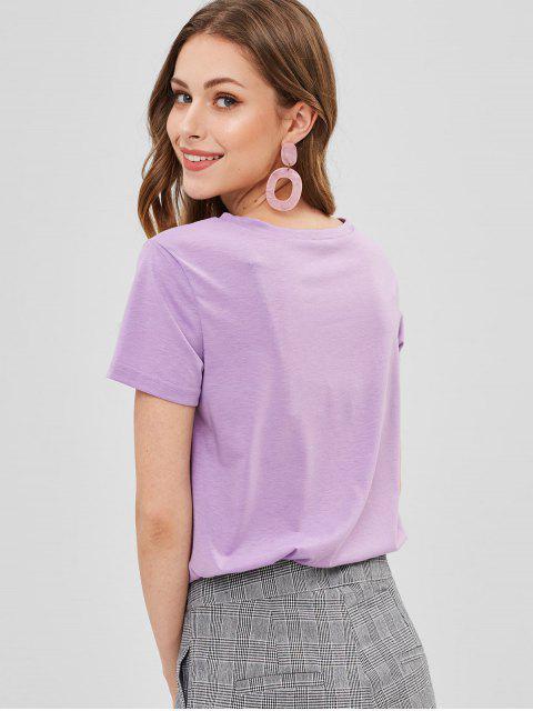 T-shirt Rouge à Lèvres Graphique - Fleur Violet L Mobile