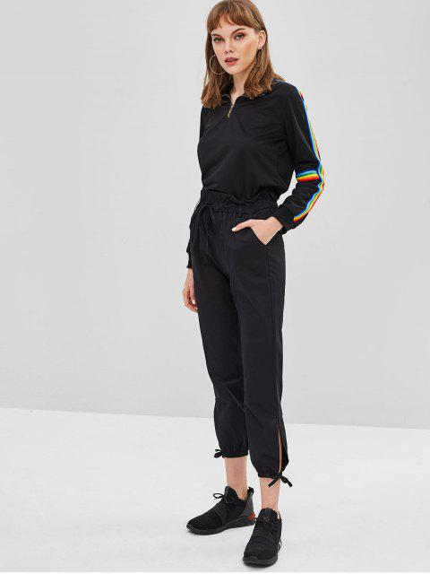 ladies Stripe Patch Half Zip Sweatshirt - BLACK M Mobile