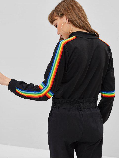 Sweat-shirt Rayé Jointif à Demi-Zip - Noir M Mobile