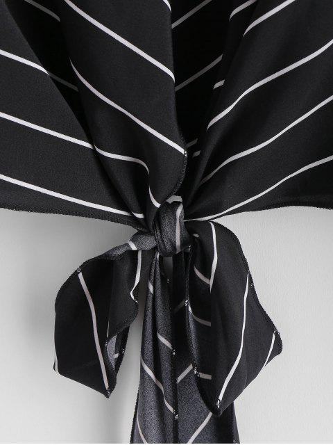 best Self-tie Striped Blouse - BLACK M Mobile