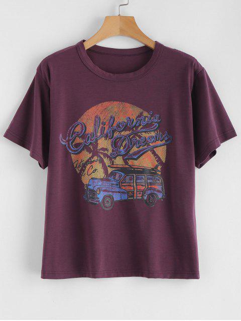 T-shirt Graphique Rétro Voiture - Violet Alto M Mobile
