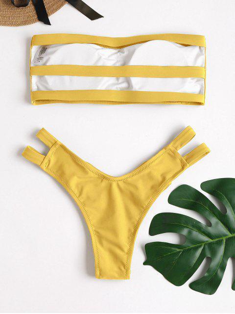 ZAFUL Bandeau-Bikini-Set mit Riemchenrücken - Goldrute S Mobile