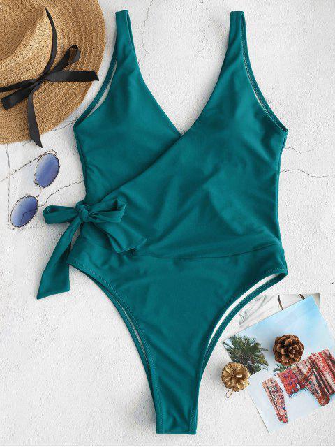shop ZAFUL Side Tie Wrap One-piece Swimsuit - GREENISH BLUE M Mobile