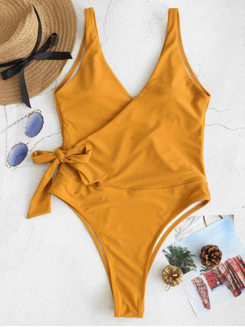 latest ZAFUL Side Tie Wrap One-piece Swimsuit - BRIGHT YELLOW L Mobile