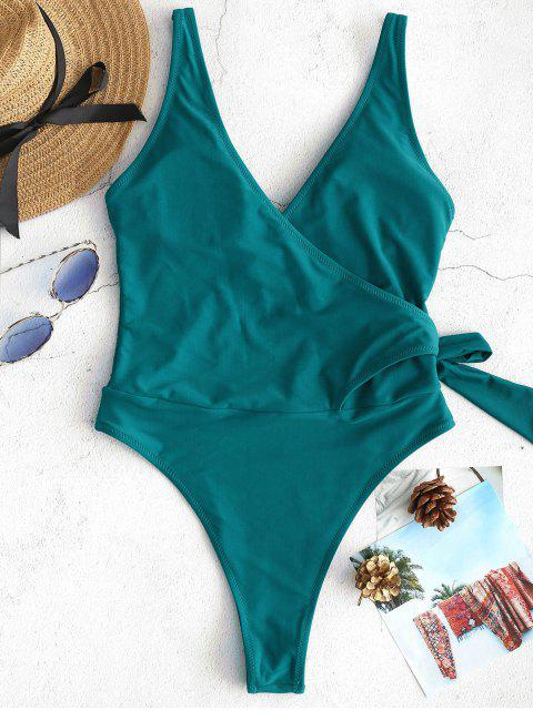 Bañador de una pieza ZAFUL Side Tie Wrap - Azul Verdoso L Mobile