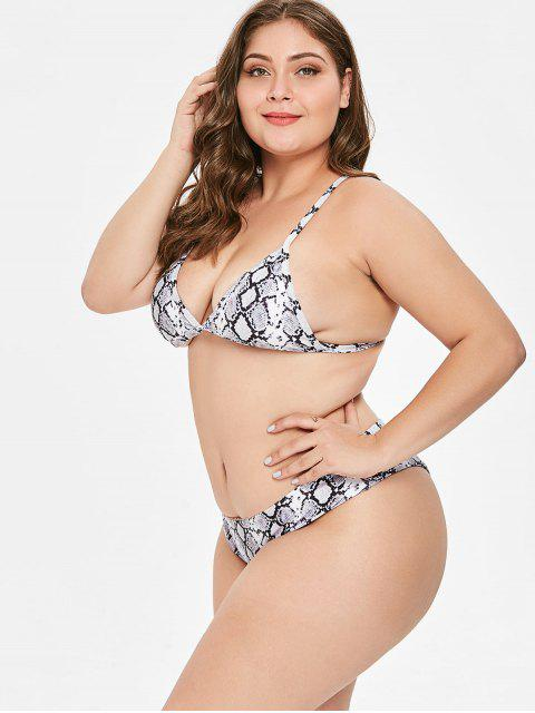 fashion ZAFUL Plus Size Snakeskin High Leg Bikini Set - MULTI-A 3X Mobile