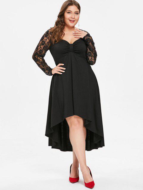 hot Plus Size Sheer Lace Sleeve Knot Neck High Low Hem Dress - BLACK L Mobile