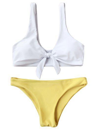 Padded Knotted Bralette Bikini Set - White And Yellow M