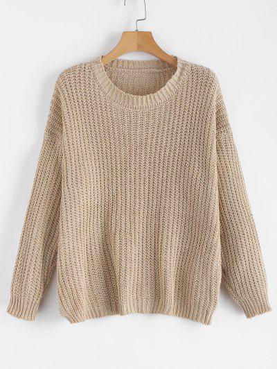 e1baadbdf0b Plain Chunky Knit Sweater - Light Khaki ...