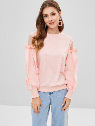 Ruffles Mesh Panel Sweatshirt - Sakura Pink S