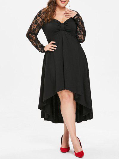 Plus Size Sheer Lace Sleeve Knot Neck High Low Hem Dress - Black L
