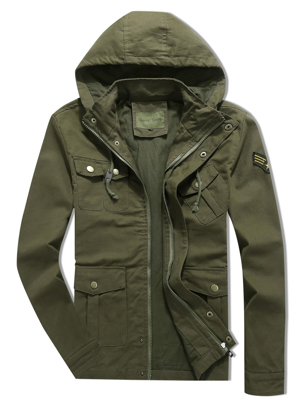 Applique Zipper Casual Drawstring Hoodie Jacket, Army green