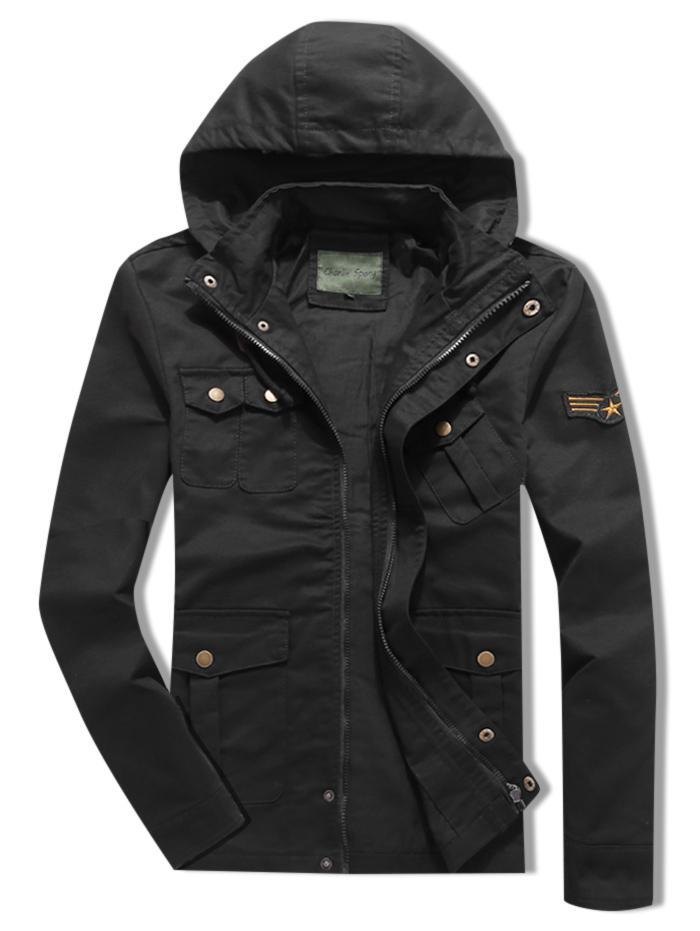 Applique Zipper Casual Drawstring Hoodie Jacket